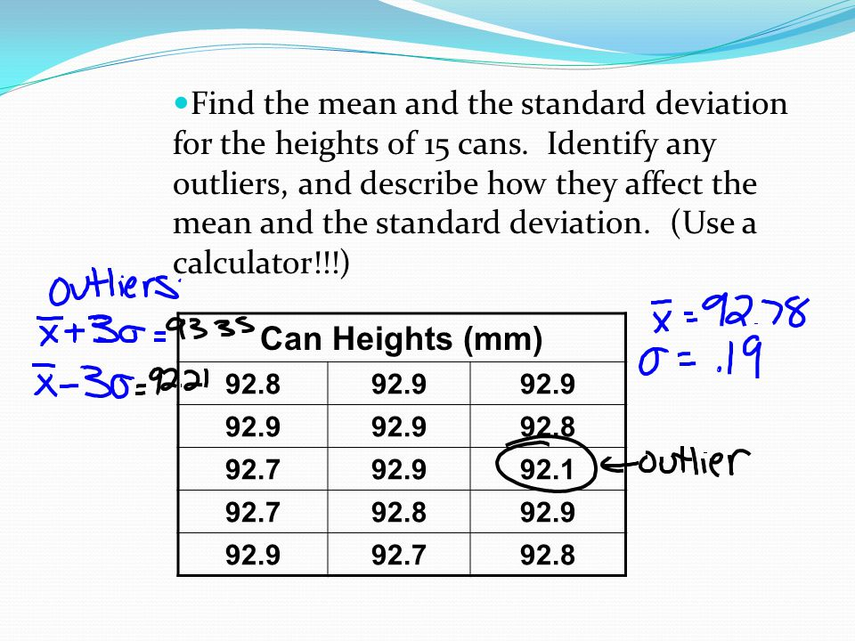 Find the mean and the standard deviation for the heights of 15 cans. Identify any outliers, and describe how they affect the mean and the standard dev