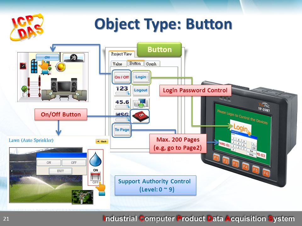 Object Type: Button ICP DAS www.icpdas.com service@icpdas.com 21 Button Login Password Control Max.