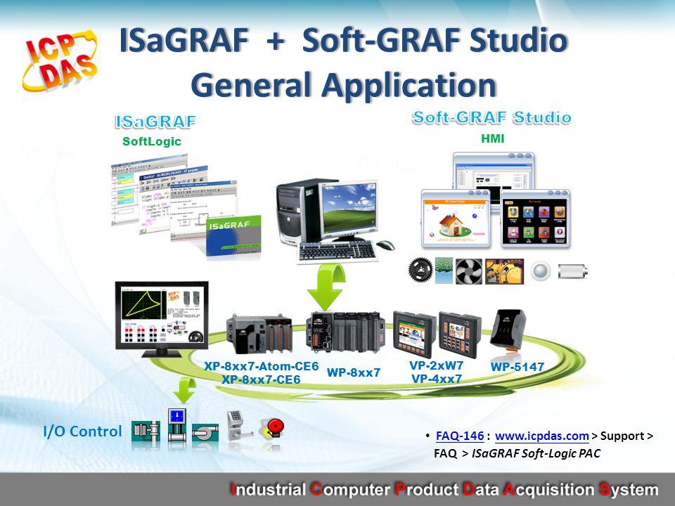 FAQ-146 : www.icpdas.com > Support > FAQ > ISaGRAF Soft-Logic PACFAQ-146www.icpdas.com SoftLogic HMI XP-8xx7-Atom-CE6 XP-8xx7-CE6 WP-8xx7 VP-2xW7 VP-4xx7 WP-5147 ISaGRAF + Soft-GRAF StudioISaGRAF + Soft-GRAF Studio General ApplicationGeneral Application