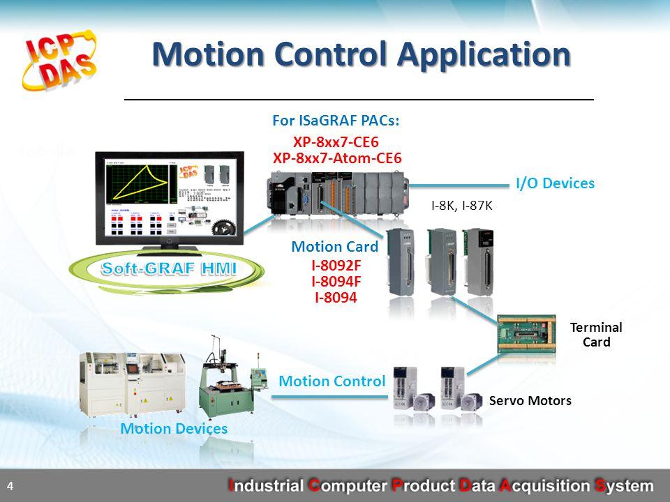 I/O Devices XP-8xx7-CE6 XP-8xx7-Atom-CE6 4 Motion Control Application I-8092F I-8094F I-8094 Motion Control Motion Devices Servo Motors Terminal Card For ISaGRAF PACs: