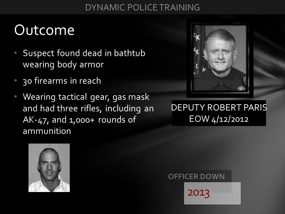 Suspect found dead in bathtub wearing body armor 30 firearms in reach Wearing tactical gear, gas mask and had three rifles, including an AK-47, and 1,
