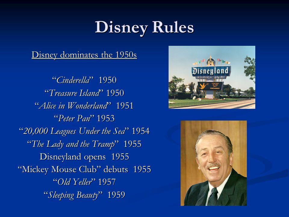 Disney Rules Disney dominates the 1950s Cinderella 1950Cinderella 1950 Treasure Island 1950Treasure Island 1950 Alice in Wonderland 1951Alice in Wonde