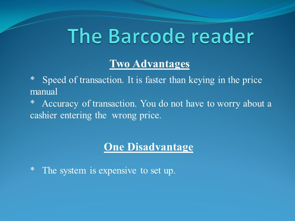 Two Advantages * Speed of transaction.