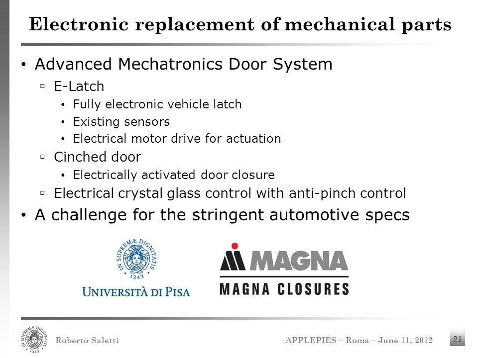 APPLEPIES – Roma – June 11, 2012 Roberto Saletti 21 Electronic replacement of mechanical parts Advanced Mechatronics Door System E-Latch Fully electro
