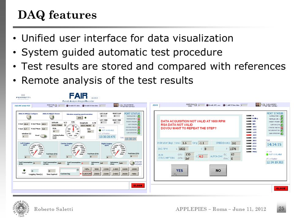 APPLEPIES – Roma – June 11, 2012 Roberto Saletti 25 DAQ features Unified user interface for data visualization System guided automatic test procedure