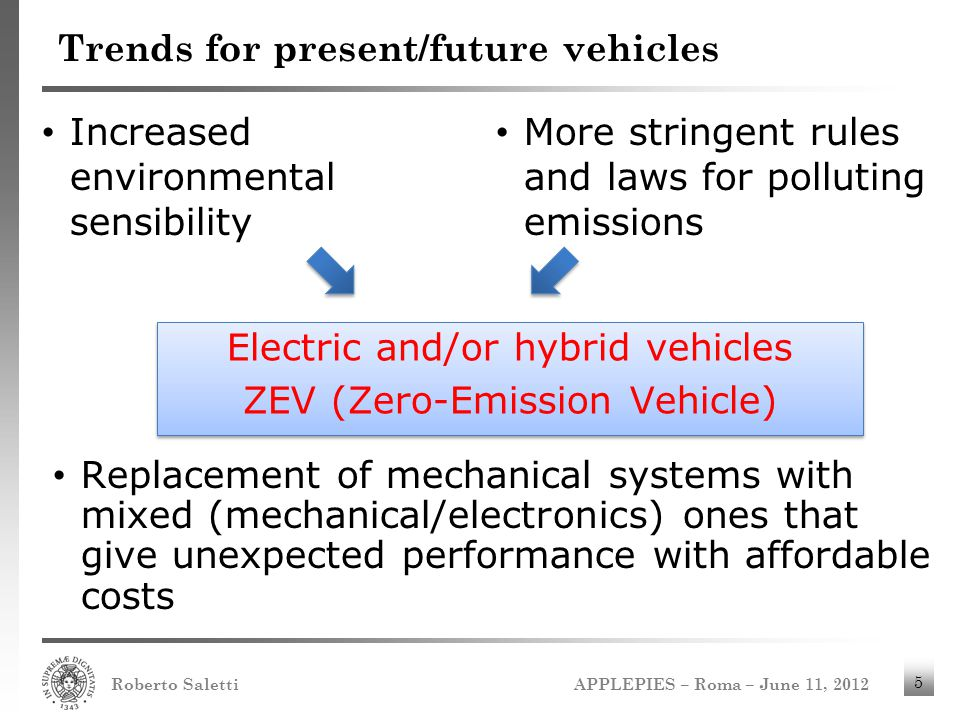 APPLEPIES – Roma – June 11, 2012 Roberto Saletti 5 Trends for present/future vehicles Increased environmental sensibility More stringent rules and law