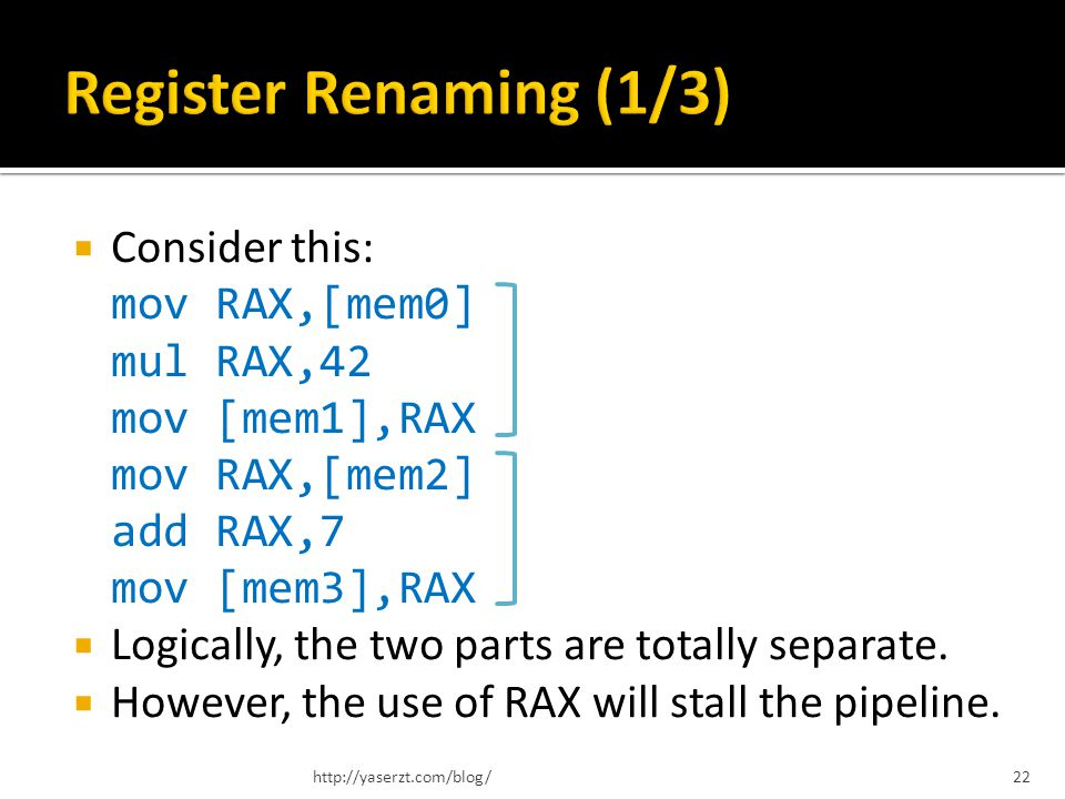 Consider this: mov RAX,[mem0] mul RAX,42 mov [mem1],RAX mov RAX,[mem2] add RAX,7 mov [mem3],RAX Logically, the two parts are totally separate. However
