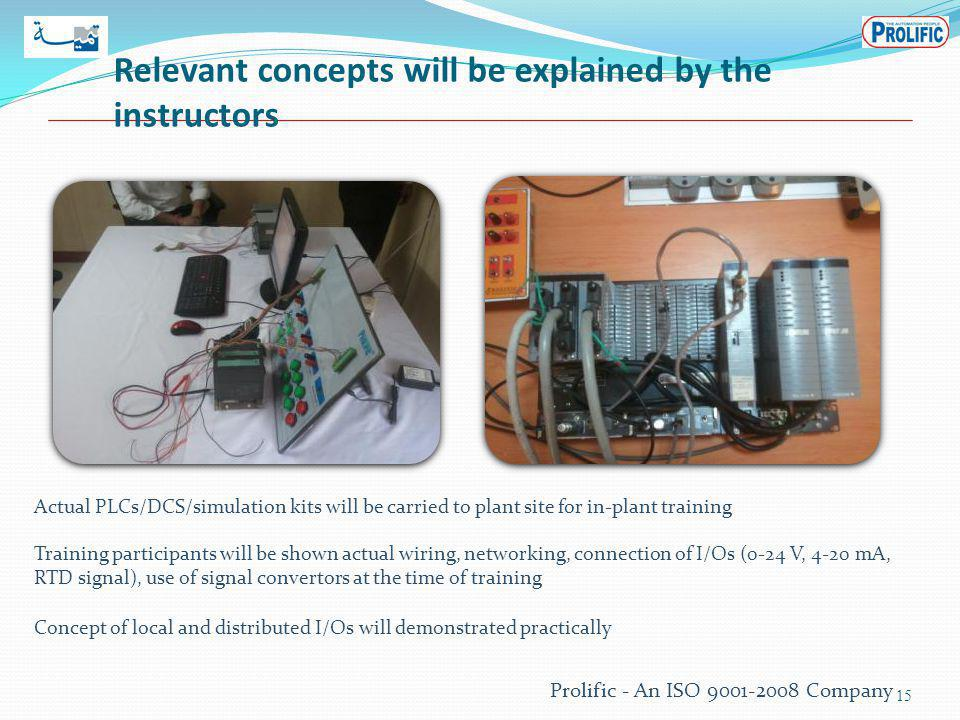 Relevant concepts will be explained by the instructors 15 Actual PLCs/DCS/simulation kits will be carried to plant site for in-plant training Training participants will be shown actual wiring, networking, connection of I/Os (0-24 V, 4-20 mA, RTD signal), use of signal convertors at the time of training Concept of local and distributed I/Os will demonstrated practically Prolific - An ISO 9001-2008 Company