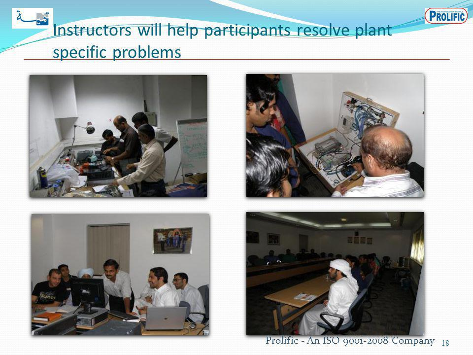 Instructors will help participants resolve plant specific problems 18 Prolific - An ISO 9001-2008 Company