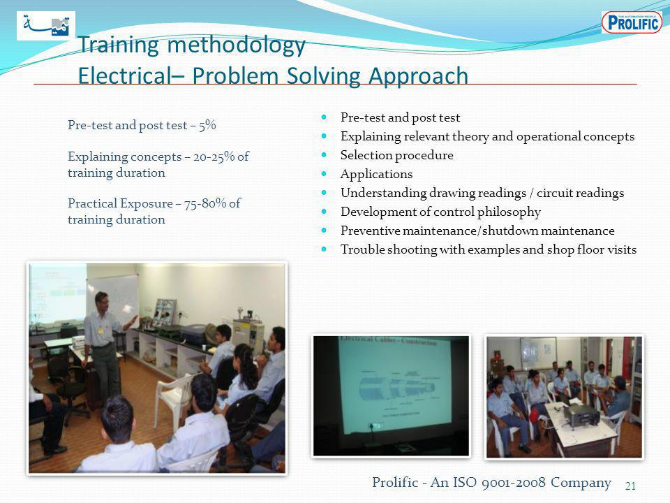 Training methodology Electrical– Problem Solving Approach Pre-test and post test Explaining relevant theory and operational concepts Selection procedure Applications Understanding drawing readings / circuit readings Development of control philosophy Preventive maintenance/shutdown maintenance Trouble shooting with examples and shop floor visits 21 Prolific - An ISO 9001-2008 Company Pre-test and post test – 5% Explaining concepts – 20-25% of training duration Practical Exposure – 75-80% of training duration
