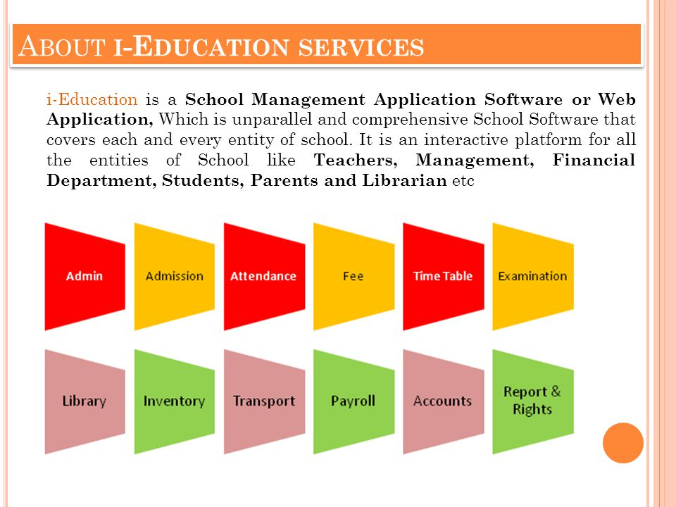 A BOUT I -E DUCATION SERVICES i-Education is a School Management Application Software or Web Application, Which is unparallel and comprehensive School