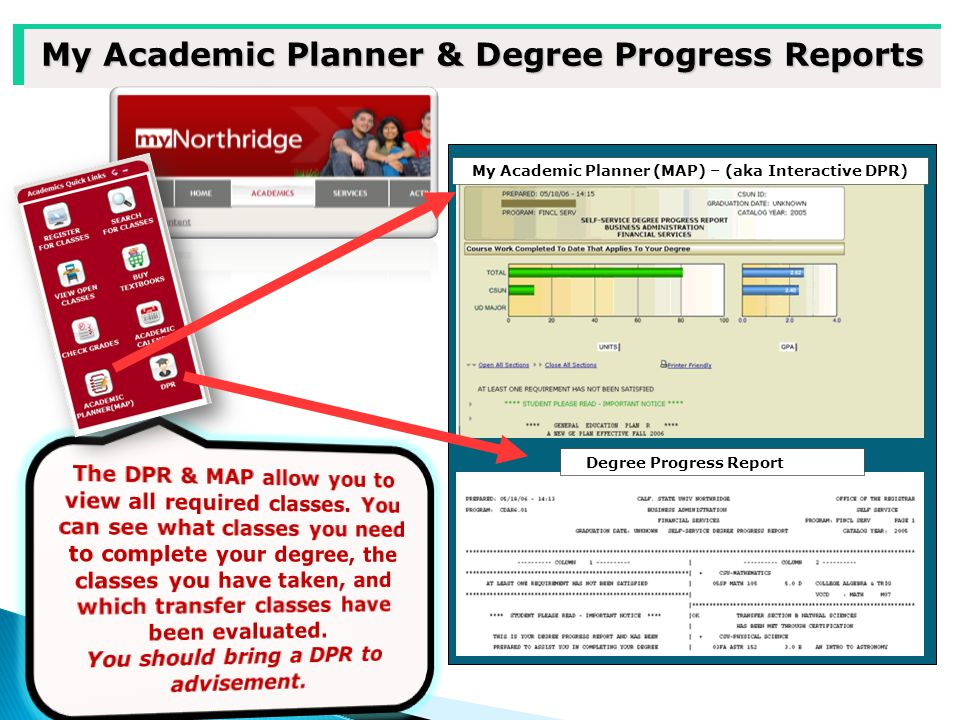 My Academic Planner & Degree Progress Reports My Academic Planner (MAP) – (aka Interactive DPR) Degree Progress Report (DPR)