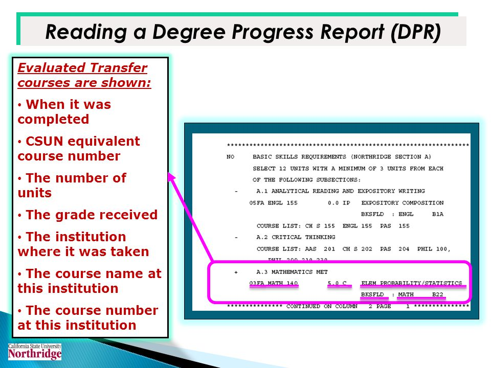 Reading a Degree Progress Report (DPR) Evaluated Transfer courses are shown: When it was completed CSUN equivalent course number The number of units T