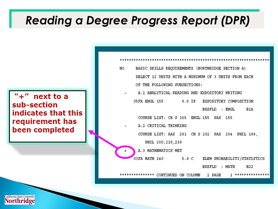 Reading a Degree Progress Report (DPR) + next to a sub-section indicates that this requirement has been completed