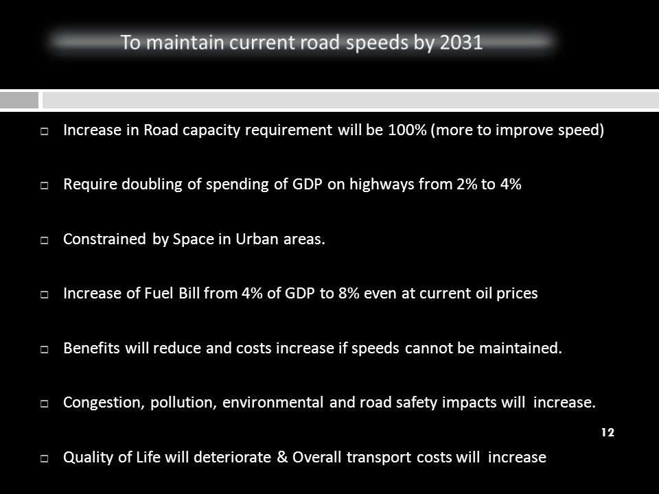 Increase in Road capacity requirement will be 100% (more to improve speed) Require doubling of spending of GDP on highways from 2% to 4% Constrained b