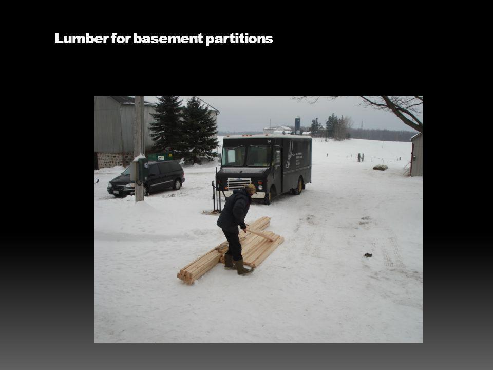 Lumber for basement partitions