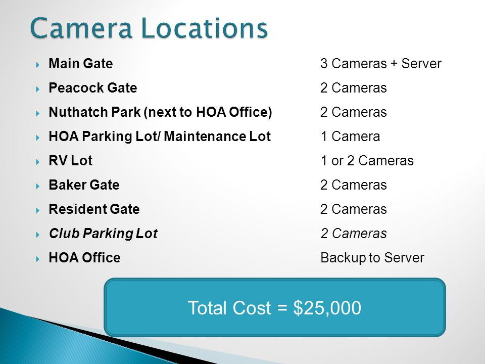 Main Gate 3 Cameras + Server Peacock Gate2 Cameras Nuthatch Park (next to HOA Office)2 Cameras HOA Parking Lot/ Maintenance Lot1 Camera RV Lot1 or 2 Cameras Baker Gate2 Cameras Resident Gate2 Cameras Club Parking Lot2 Cameras HOA OfficeBackup to Server Total Cost = $25,000