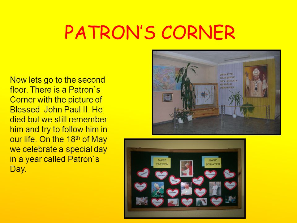 PATRONS CORNER Now lets go to the second floor.