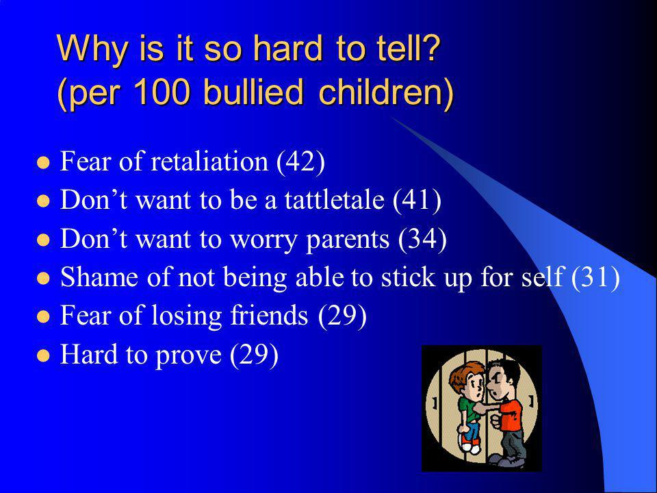 Why is it so hard to tell? (per 100 bullied children) Fear of retaliation (42) Dont want to be a tattletale (41) Dont want to worry parents (34) Shame