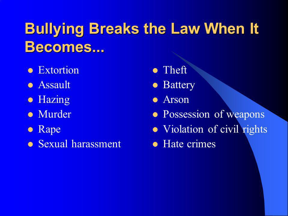 Bullying Breaks the Law When It Becomes... Extortion Assault Hazing Murder Rape Sexual harassment Theft Battery Arson Possession of weapons Violation