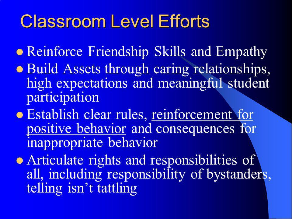 Classroom Level Efforts Reinforce Friendship Skills and Empathy Build Assets through caring relationships, high expectations and meaningful student pa