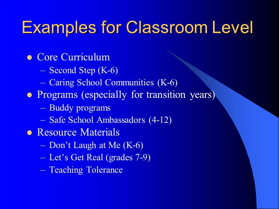 Examples for Classroom Level Core Curriculum –Second Step (K-6) –Caring School Communities (K-6) Programs (especially for transition years) –Buddy pro