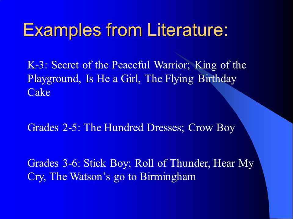Examples from Literature: K-3: Secret of the Peaceful Warrior; King of the Playground, Is He a Girl, The Flying Birthday Cake Grades 2-5: The Hundred