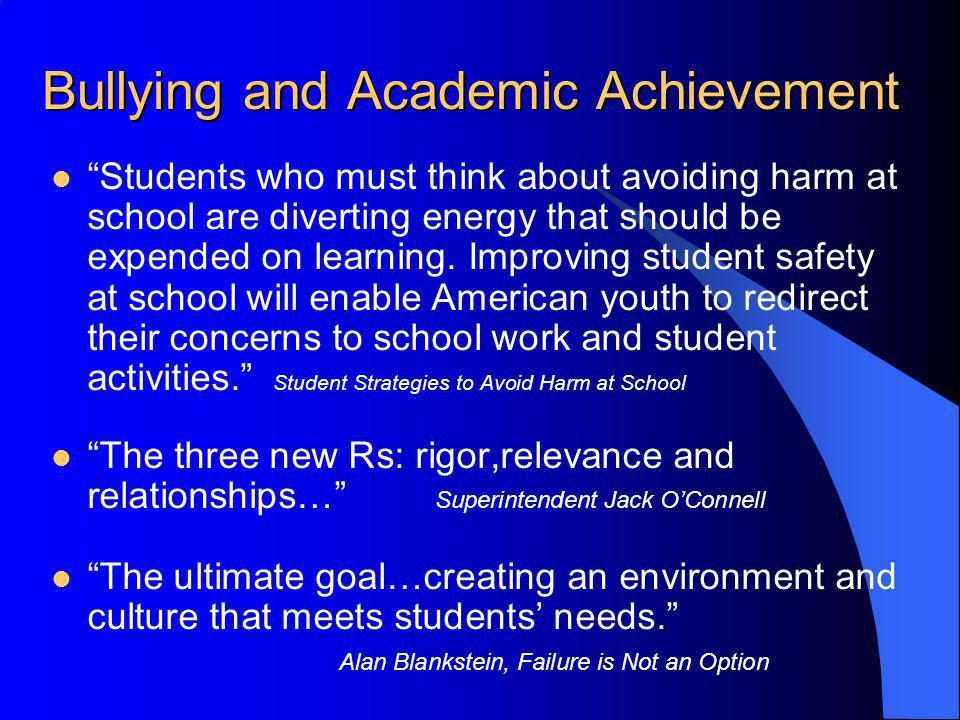 Bullying and Academic Achievement Students who must think about avoiding harm at school are diverting energy that should be expended on learning. Impr
