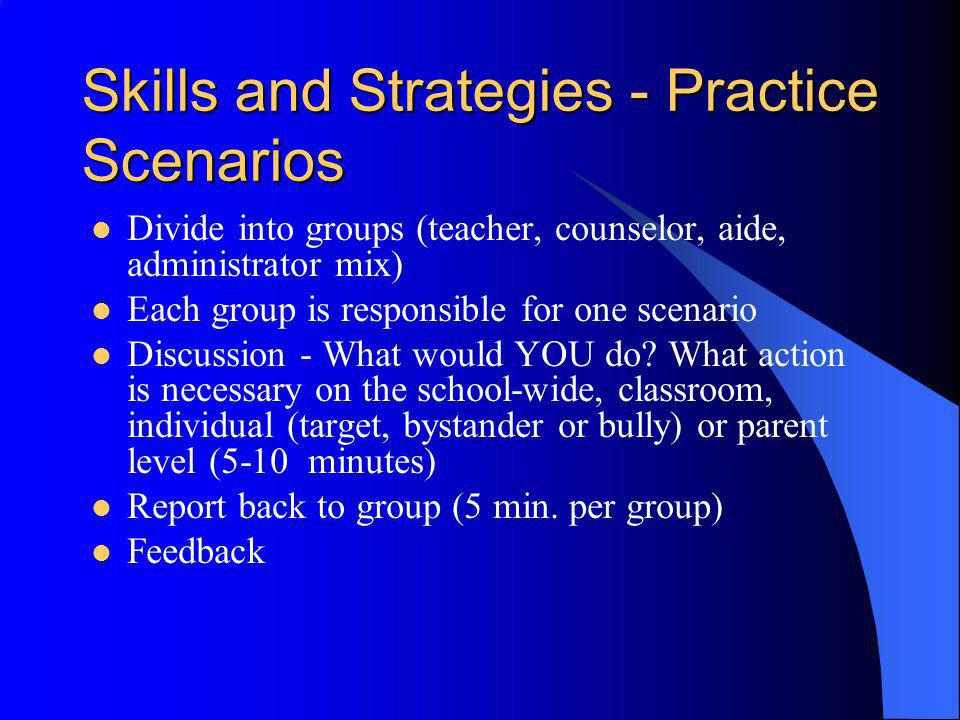 Skills and Strategies - Practice Scenarios Divide into groups (teacher, counselor, aide, administrator mix) Each group is responsible for one scenario