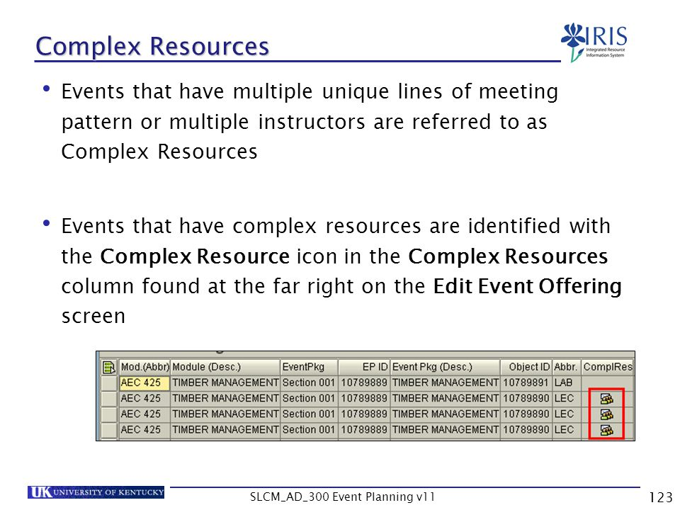 SLCM_AD_300 Event Planning v11 123 Complex Resources Events that have multiple unique lines of meeting pattern or multiple instructors are referred to