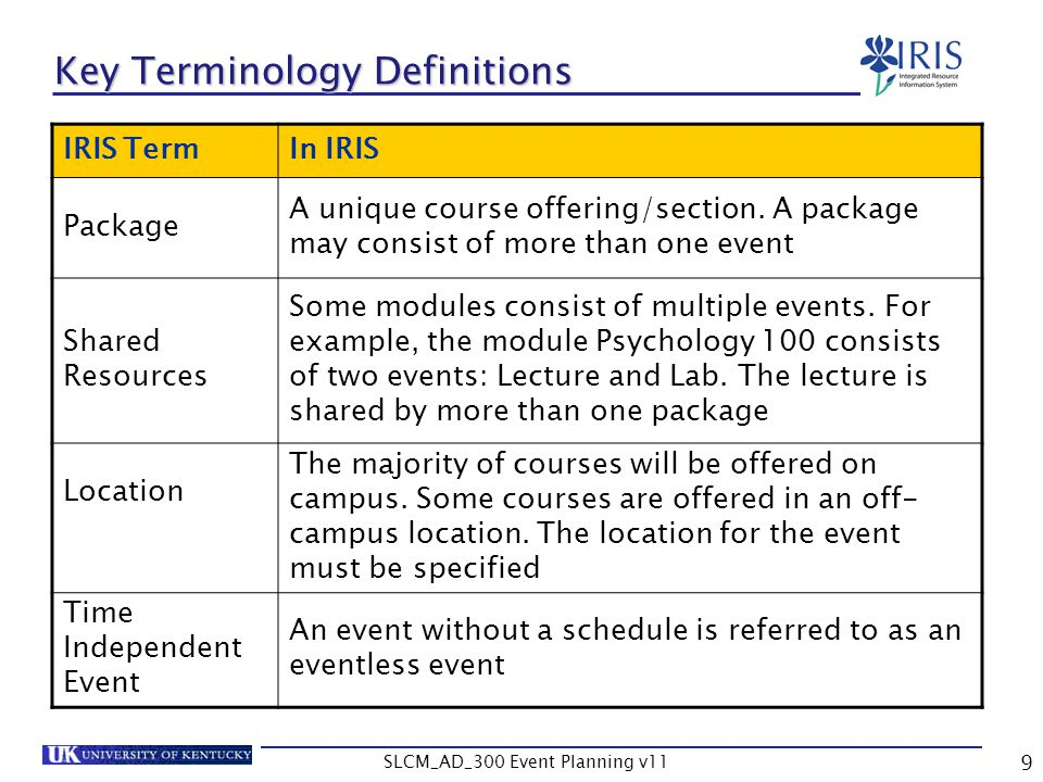 SLCM_AD_300 Event Planning v11 10 Key Terminology Definitions IRIS TermIn IRIS Resource Conflicts A room resource conflict occurs when attempting to schedule a class in the same room at the same time as another course.