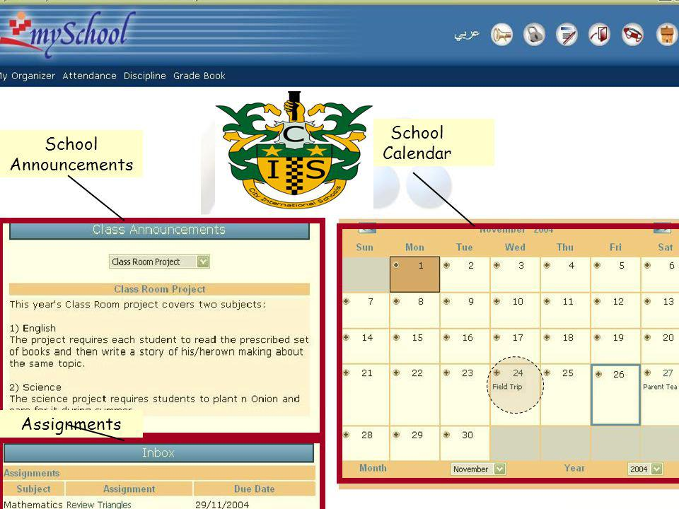 School Announcements School Calendar Assignments