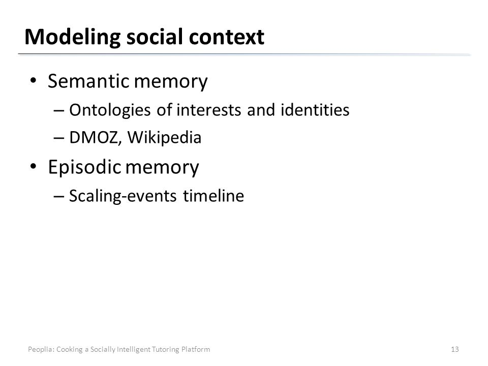 Modeling social context Semantic memory – Ontologies of interests and identities – DMOZ, Wikipedia Episodic memory – Scaling-events timeline Peoplia: Cooking a Socially Intelligent Tutoring Platform13