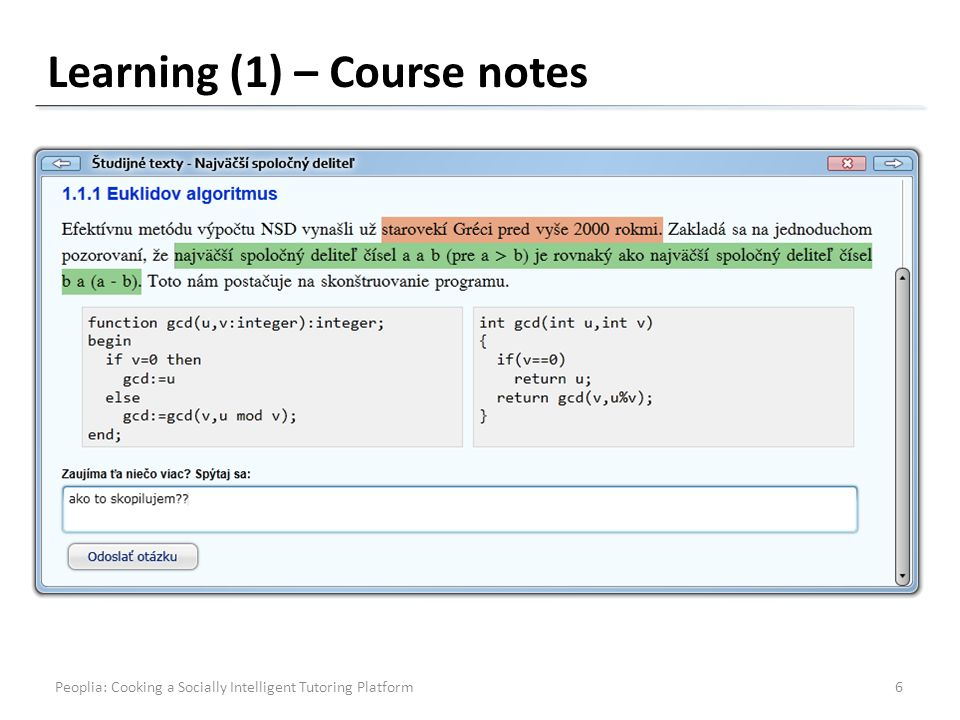 Learning (1) – Course notes Peoplia: Cooking a Socially Intelligent Tutoring Platform6