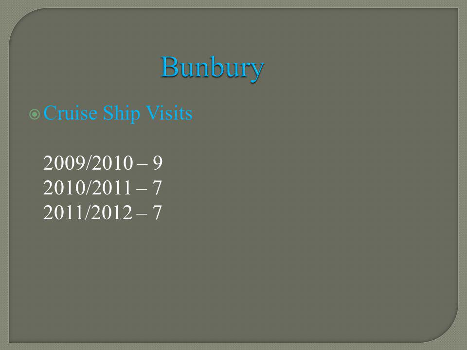 Cruise Ship Visits 2009/2010 – 9 2010/2011 – 7 2011/2012 – 7 Bunbury