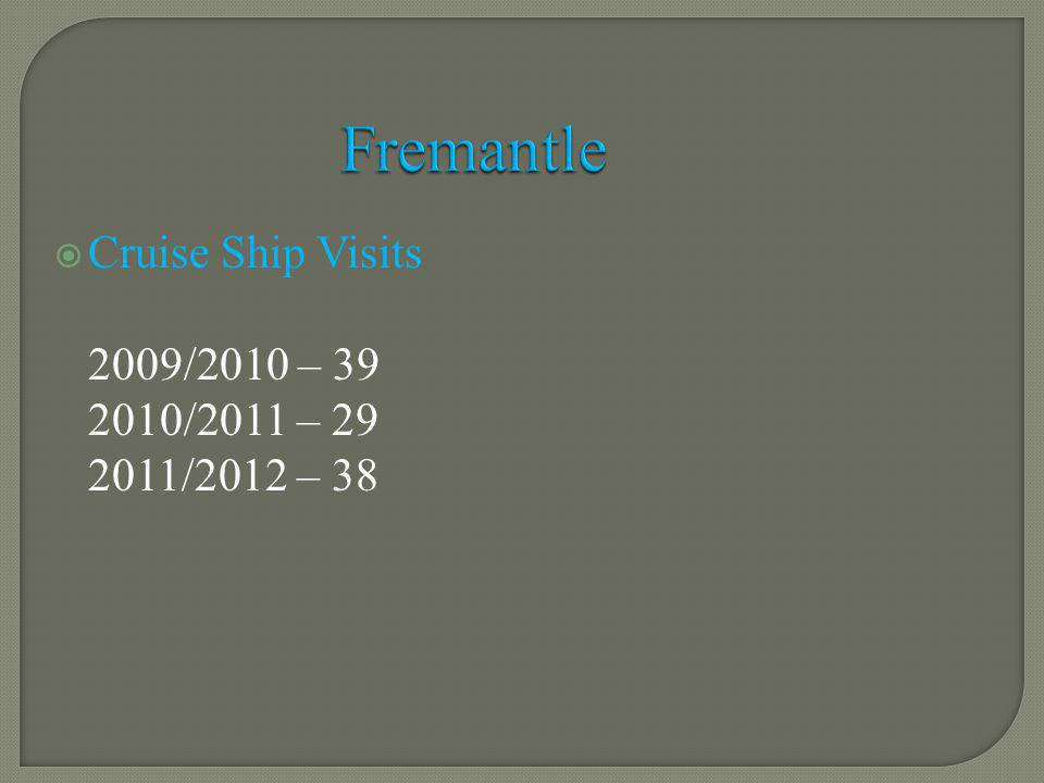 Cruise Ship Visits 2009/2010 – 39 2010/2011 – 29 2011/2012 – 38 Fremantle