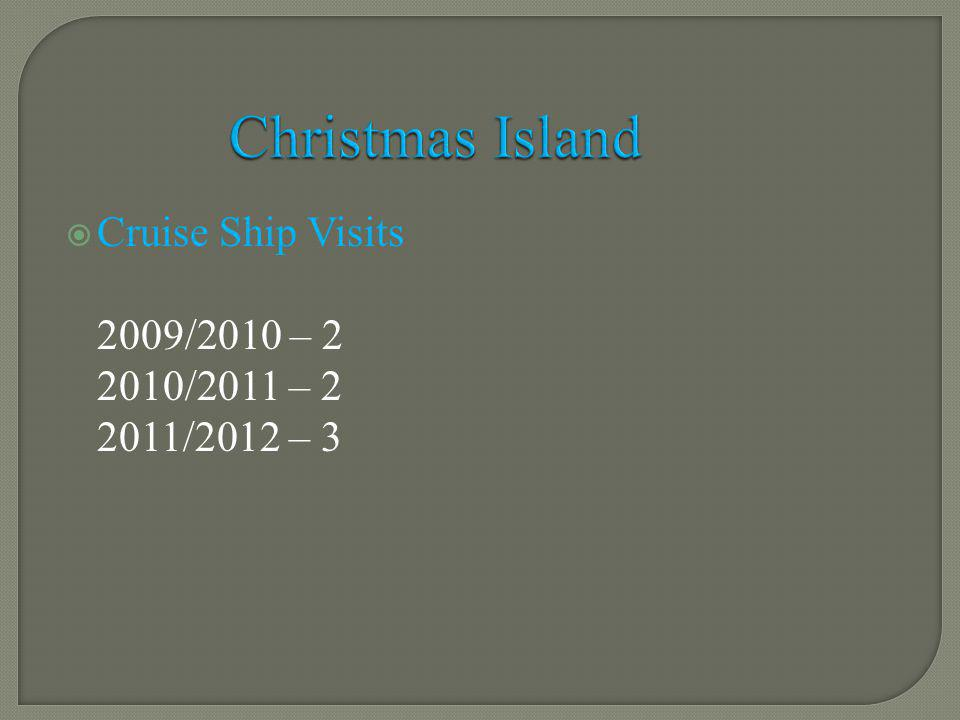 Cruise Ship Visits 2009/2010 – 2 2010/2011 – 2 2011/2012 – 3 Christmas Island
