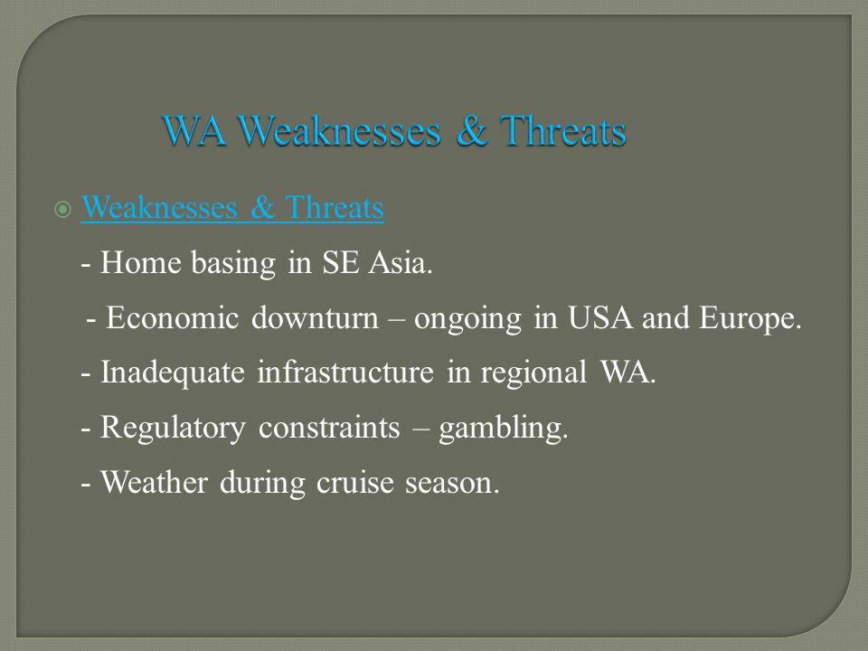 Weaknesses & Threats - Home basing in SE Asia. - Economic downturn – ongoing in USA and Europe.