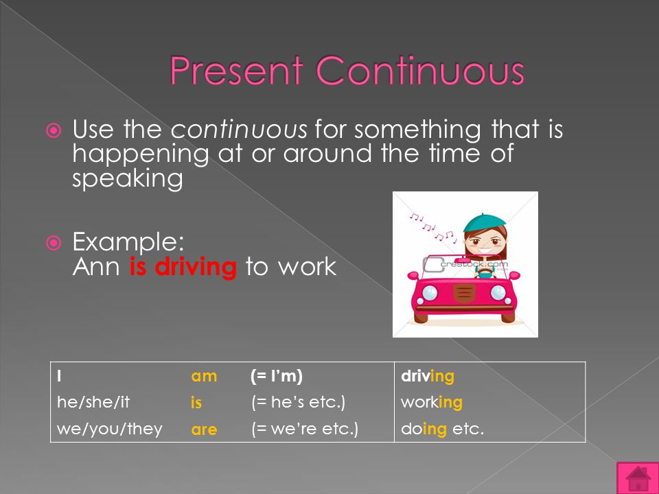Use the continuous for something that is happening at or around the time of speaking Example: Ann is driving to work Iam(= Im)driving he/she/it is (= hes etc.) work ing we/you/they are (= were etc.) do ing etc.