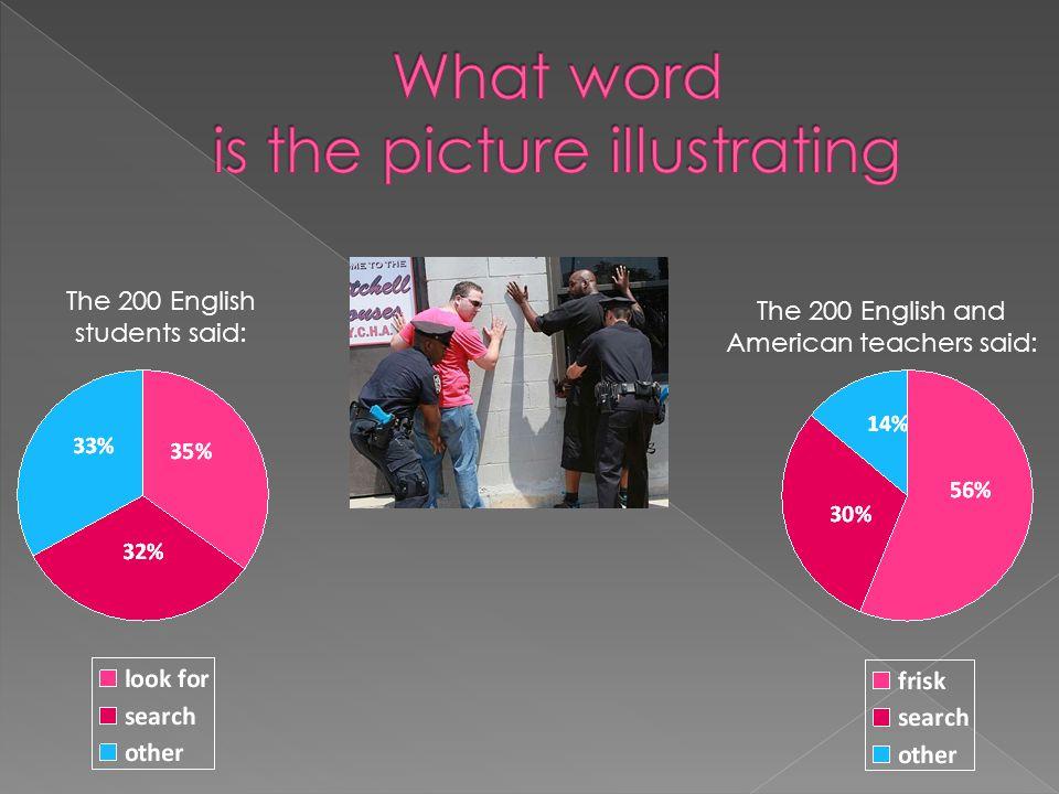 The 200 English and American teachers said: The 200 English students said: