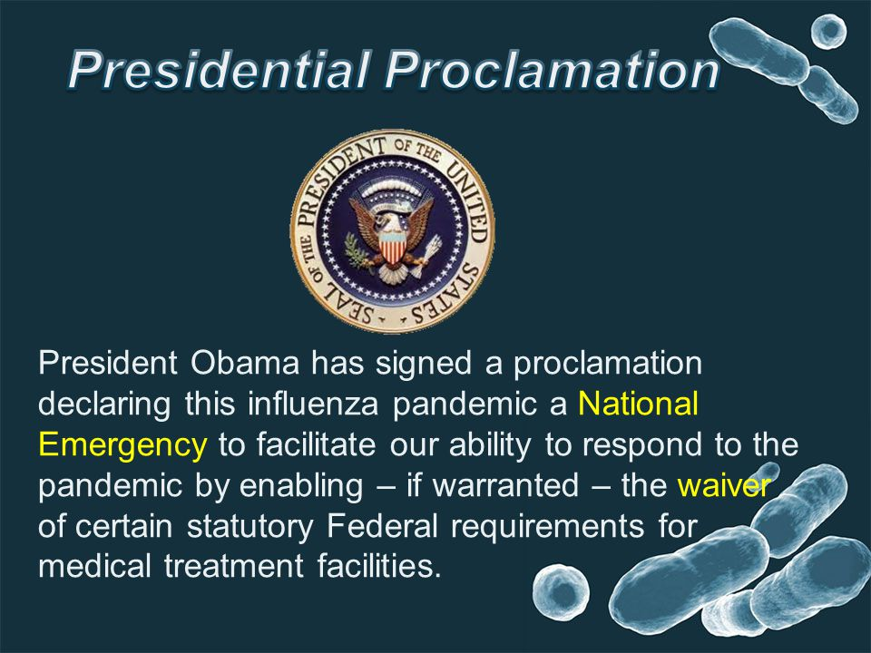 President Obama has signed a proclamation declaring this influenza pandemic a National Emergency to facilitate our ability to respond to the pandemic by enabling – if warranted – the waiver of certain statutory Federal requirements for medical treatment facilities.