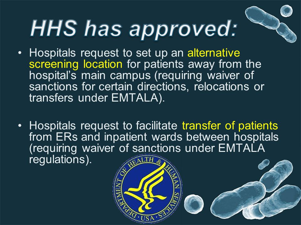 Hospitals request to set up an alternative screening location for patients away from the hospitals main campus (requiring waiver of sanctions for certain directions, relocations or transfers under EMTALA).