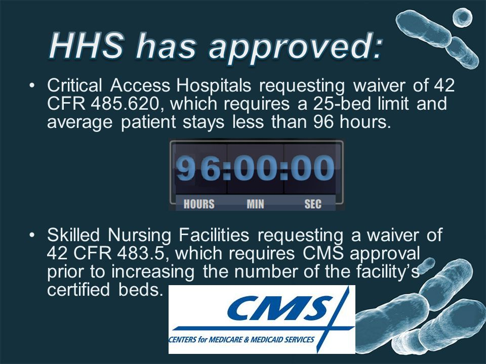 Critical Access Hospitals requesting waiver of 42 CFR 485.620, which requires a 25-bed limit and average patient stays less than 96 hours. Skilled Nur