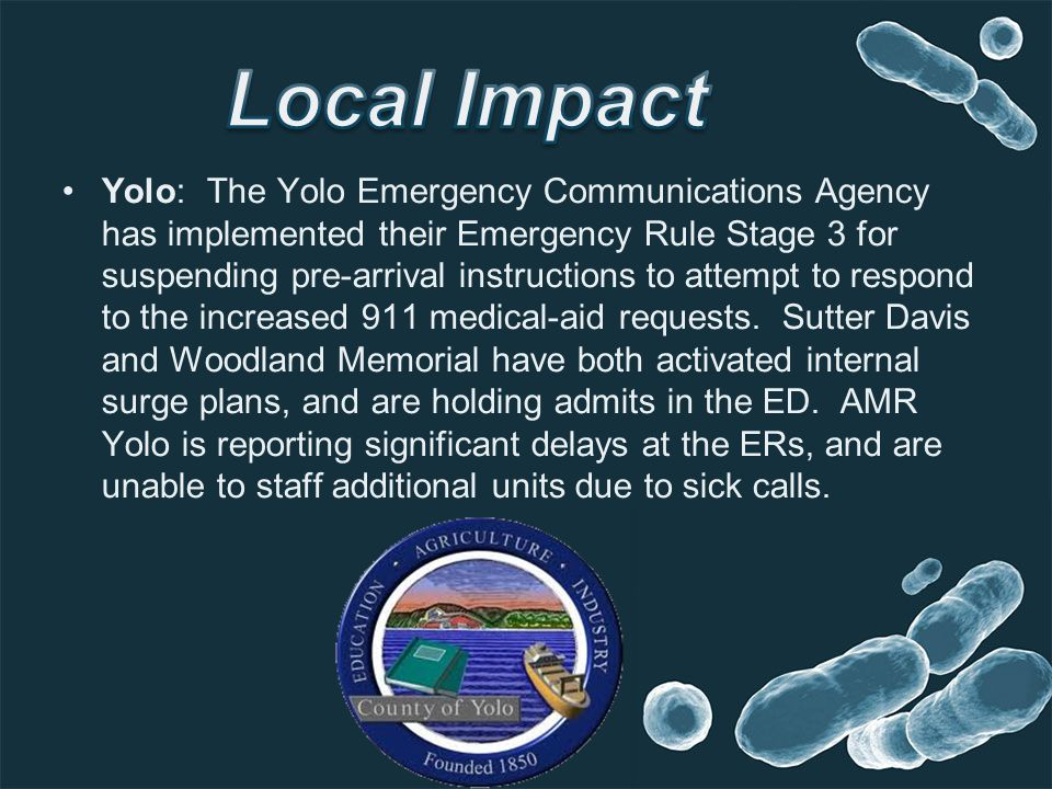 Yolo: The Yolo Emergency Communications Agency has implemented their Emergency Rule Stage 3 for suspending pre-arrival instructions to attempt to resp