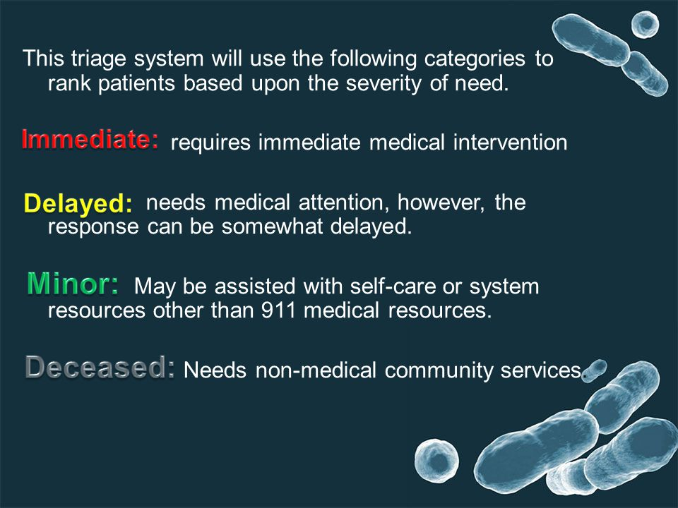 This triage system will use the following categories to rank patients based upon the severity of need.