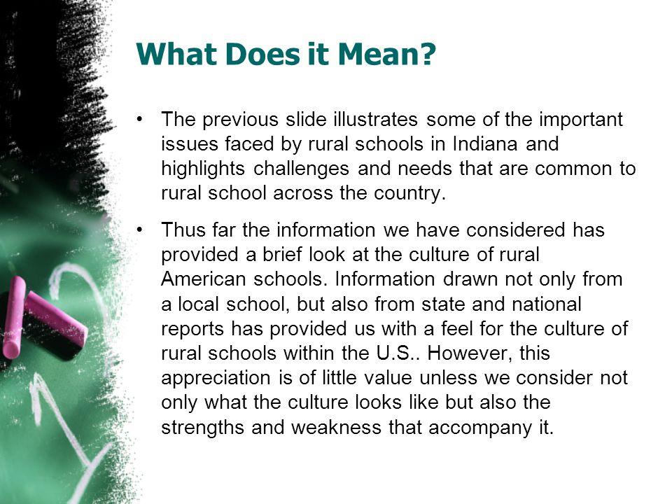 What Does it Mean? The previous slide illustrates some of the important issues faced by rural schools in Indiana and highlights challenges and needs t
