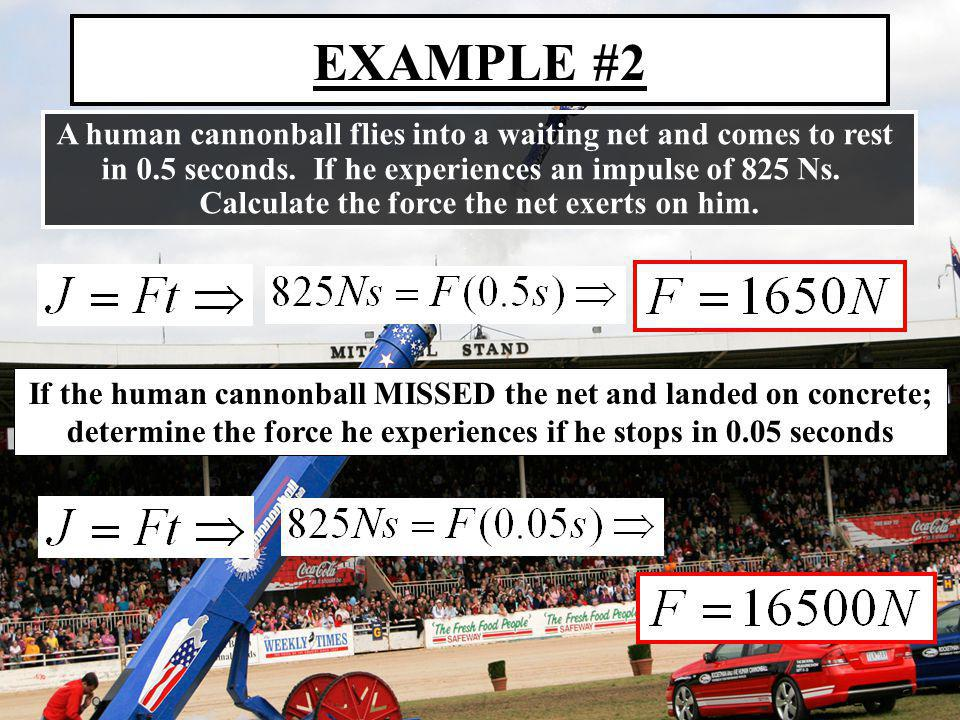 EXAMPLE #2 A human cannonball flies into a waiting net and comes to rest in 0.5 seconds. If he experiences an impulse of 825 Ns. Calculate the force t