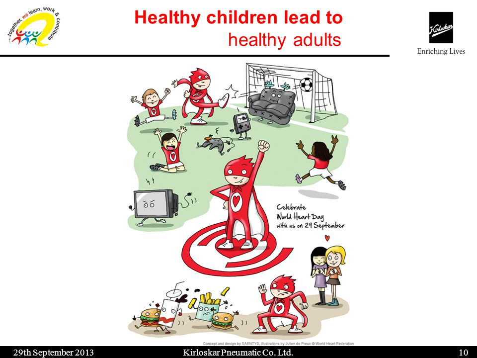 Healthy children lead to healthy adults 29th September 201311 Kirloskar Pneumatic Co.