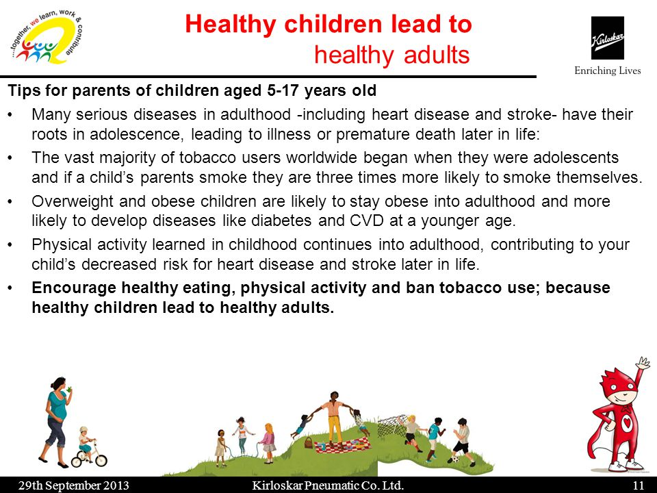 Healthy children lead to healthy adults 29th September 201311 Kirloskar Pneumatic Co. Ltd. Tips for parents of children aged 5-17 years old Many serio