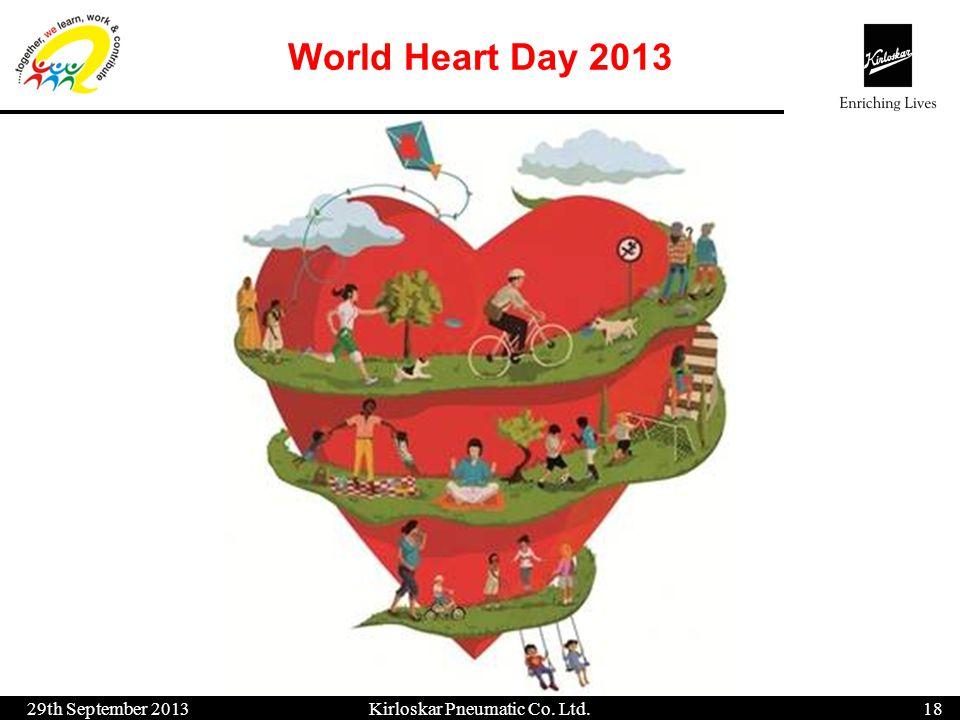 World Heart Day 2013 29th September 201318 Kirloskar Pneumatic Co. Ltd.